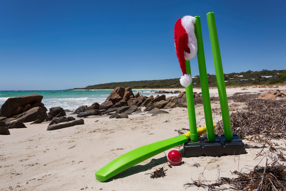 A Christmas hat displayed on a beautiful beach