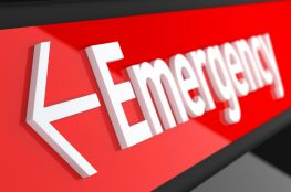 Emergency logo in white and red